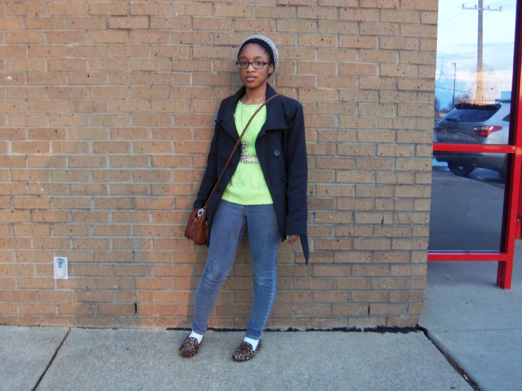 Hat: gifted; Coat: New Look; Sweater: Decoded; Jeans: CATO; Shoes: No Call (Shoe Show); Necklace: Etsy