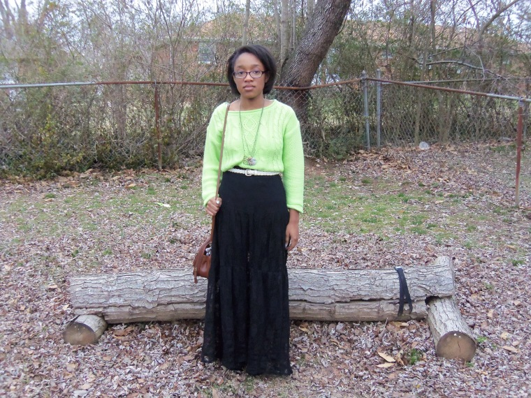 Sweater: Decoded; Skirt: ? (TJ Maxx); Shoes: L.E.I. (Walmart); Necklaces: Etsy; Belt: Goodwill; Purse: ? (thrifted)