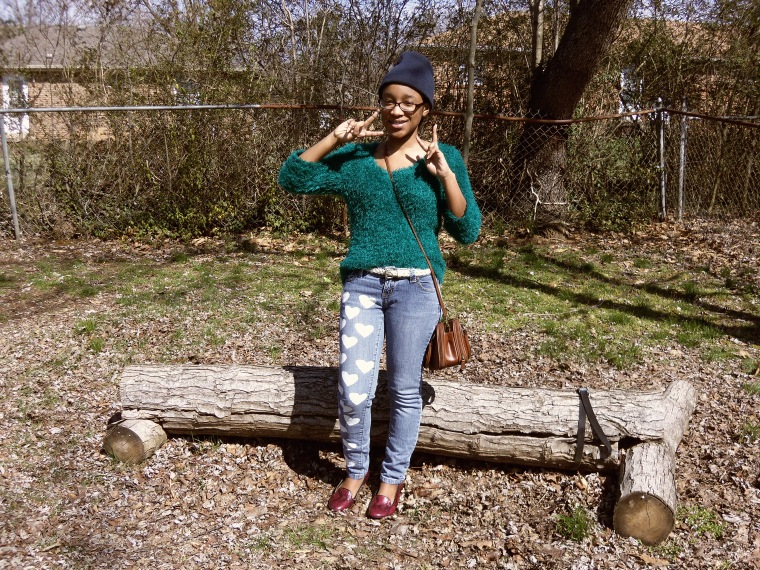Sweater: Heart N Crush; Jeans: DIY; Shoes: SOX (Goodwill)