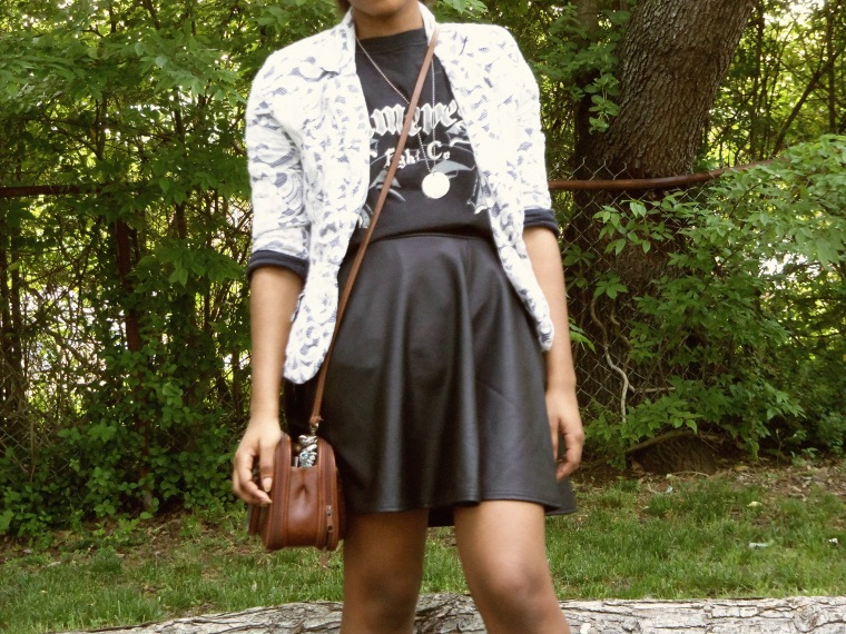 Blazer: Monteau (TJ Maxx); T-Shirt: Gameness Fight Co. (gift); Skirt: Wall Flowerl Shoes: DIY; Necklaces: Etsy; Bag: thrifted