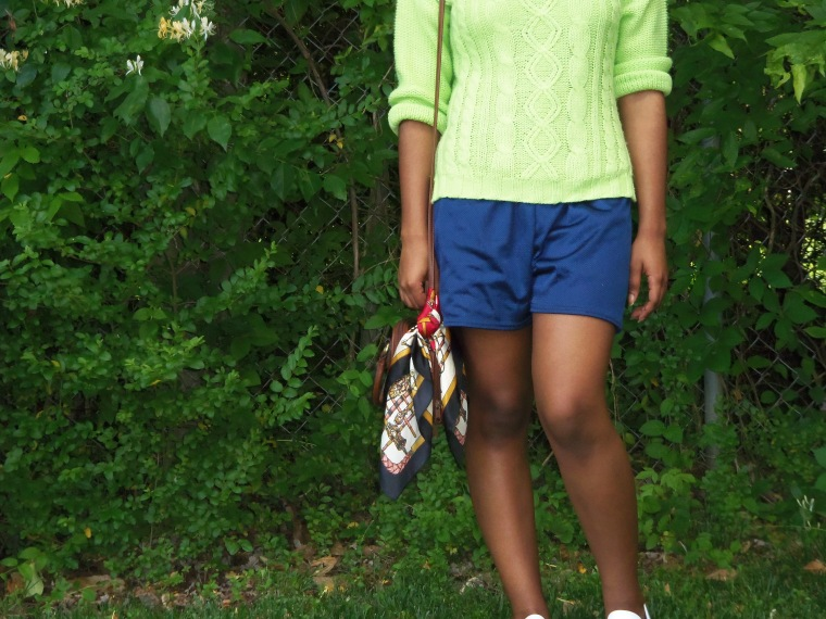 Sweater: Decoded; Shorts: Hibbett Sports; Bag: thrifted; Scarf: thrifted; Shoes: DIY