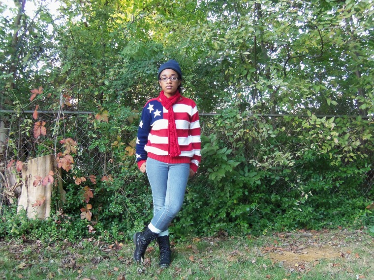 Hat: ?; Sweater: Newport News (Goodwill) ; Scarf: (Goodwill); Jeans: CATO; Socks: Forever 21; Boots: White Mountain (TJ Maxx)