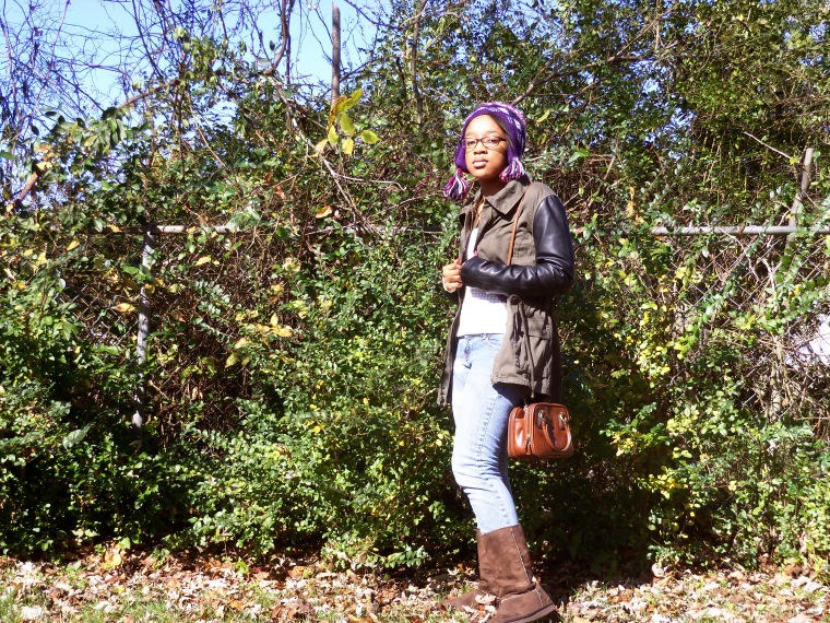 Hat: ? (Target); Jacket: Iris (Rainbow); Sweater: MODA (Goodwill); Jeans: DIY, Boots: Old Navy (Goodwill)