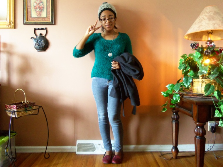 Sweater: heart n crush; Coat: new look (Rainbow); Jeans: CATO; Shoes: ? (Goodwill); Necklace: Etsy