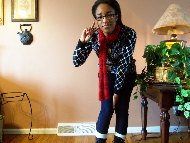 sweater: Forever 21, Jeans: Old Navy, socks: Forever 21; boots: White Mountain (TJ Maxx), scarf: ? (Goodwill)