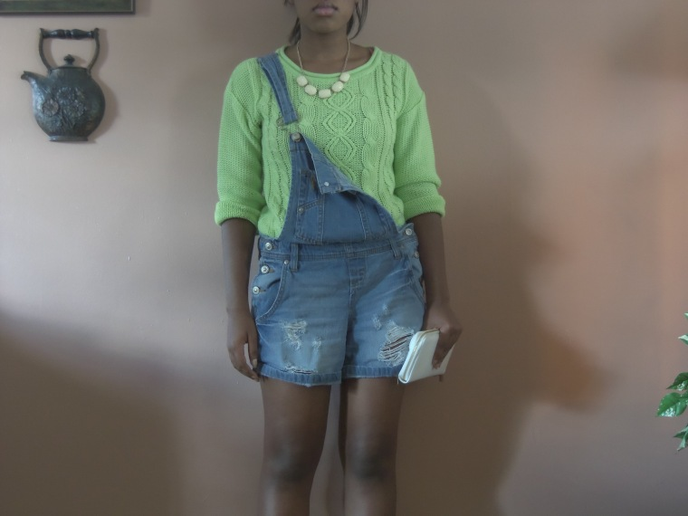 Sweater: Decoded; Shortalls: l.e.i. (Walmart); Shoes: DIY; Necklace: Wet Seal
