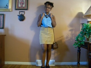 Shirt: CATO Fashions; Skirt: ?; Shoes: Old Navy; Necklace: Wet Seal