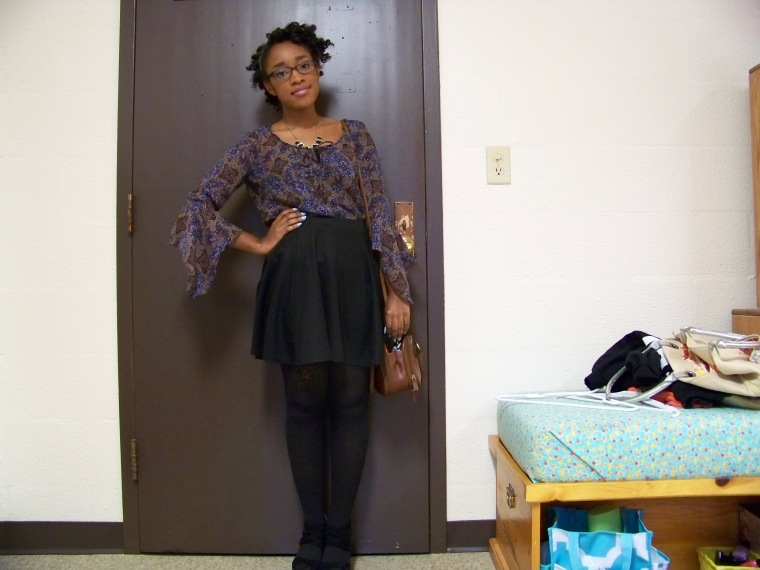 Top: Anxiety (?); Skirt: Wall Flower; Tights: ? (Walmart); Shoes: Charlotte Russe; Necklace: Wet Seal; Purse: thrifted