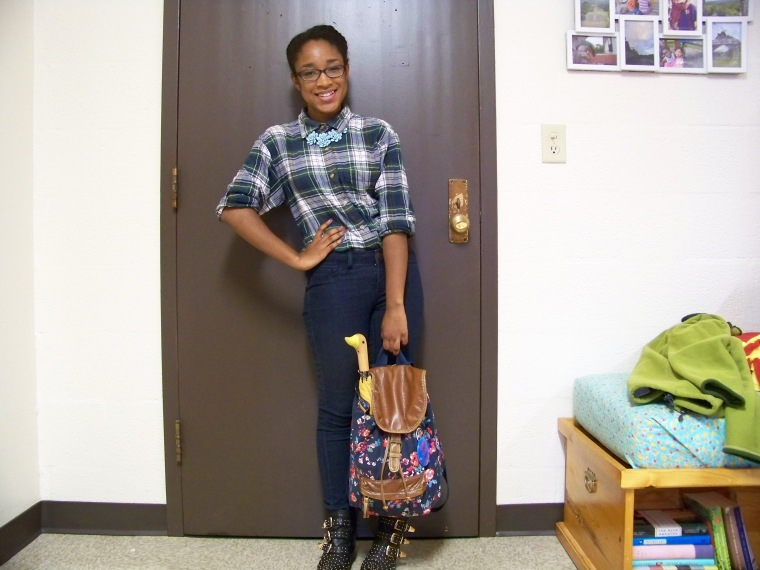 Shirt: Mountain Lake (Goodwill); Jeans: Tokyo Darling (Aeropostale); Booties: Charlotte Russe; Necklace: Forever 21; Backpack: Arizona (JC Penny)