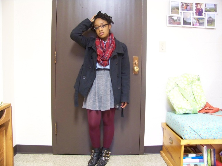 Coat: New Look, Scarf: Charlotte Russe; Top: CATO Fashions; Skirt: Mossimo (Target); Tights: Forever 21; Booties: Charlotte Russe