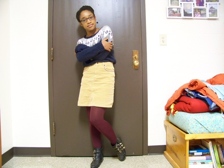 Sweater: American Eagle Outfitters (TJ Maxx); Skirt: ?; Tights: Forever 21; Boots: Charlotte Russe; Necklace: Etsy