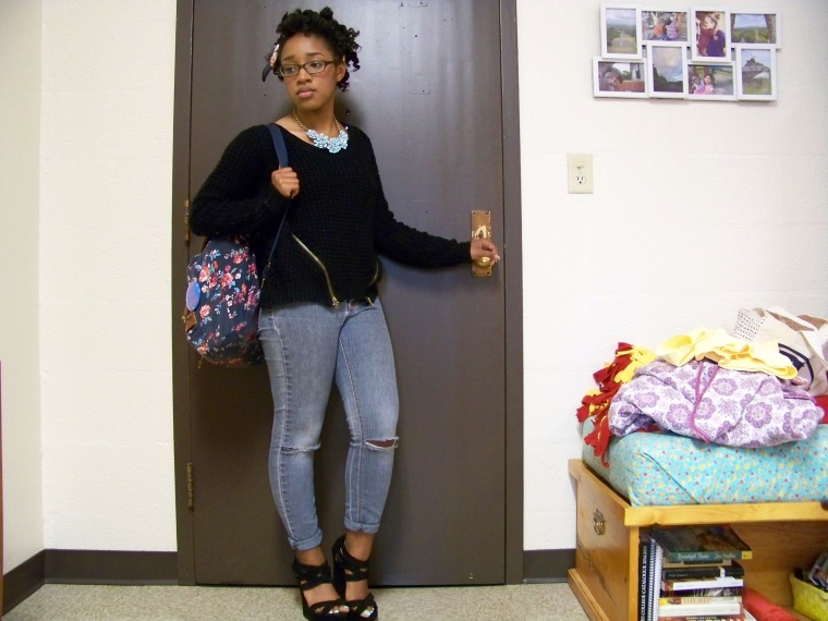 Sweater: Charlotte Russe; Jeans: CATO Fashions; Shoes: Charlotte Russe; Necklace: Forever 21; Backpack: Arizona (JC Penny)