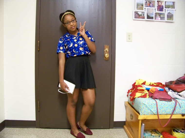 Top: ? (Goodwill); Skirt: Wallflower; Shoes: Merona (Target); Wallet: Rainbow