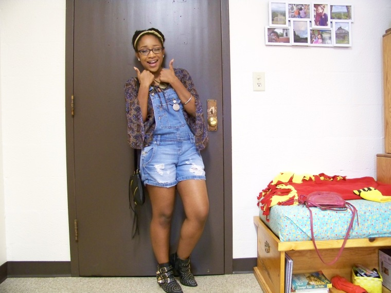 Top: Anxiety (?); Shortalls: l.e.i. (Walmart); Boots: Charlotte Russe; Bag: Charlotte Russe; Neckaces: Walmart and Etsy