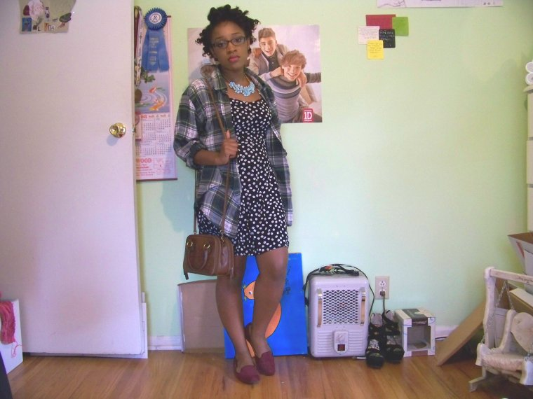 Necklace: Forever 21; Shirt: Mountain Lake (Goodwill); Dress: Forever 21; Shoes: Merona (Target); Bag: Thrifted