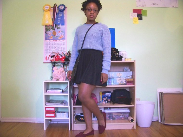 Sweater: Forever 21;; Skirt: Wall Flower (?); Shoes: Merona (Target); Purse: Charlotte Russe