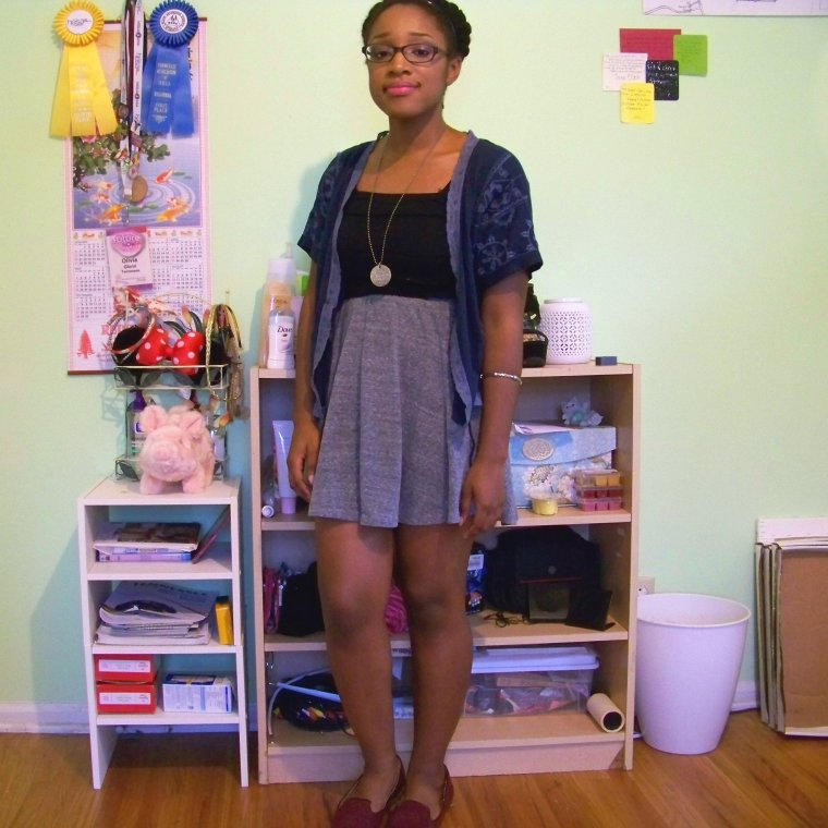 Cardigan: American Eagle Outfitters (Goodwill); Top: Max Studios (?); Skirt: Mossimo (Target); Shoes: Merona (Target); Necklace: Etsy