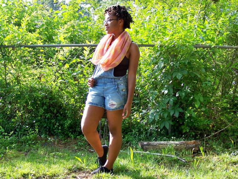 Scarf: Snoods (Rainbow); Overalls: l.e.i. (Walmart); Tank: Faded Glory (Walmart); Shoes: ? (Walmart)