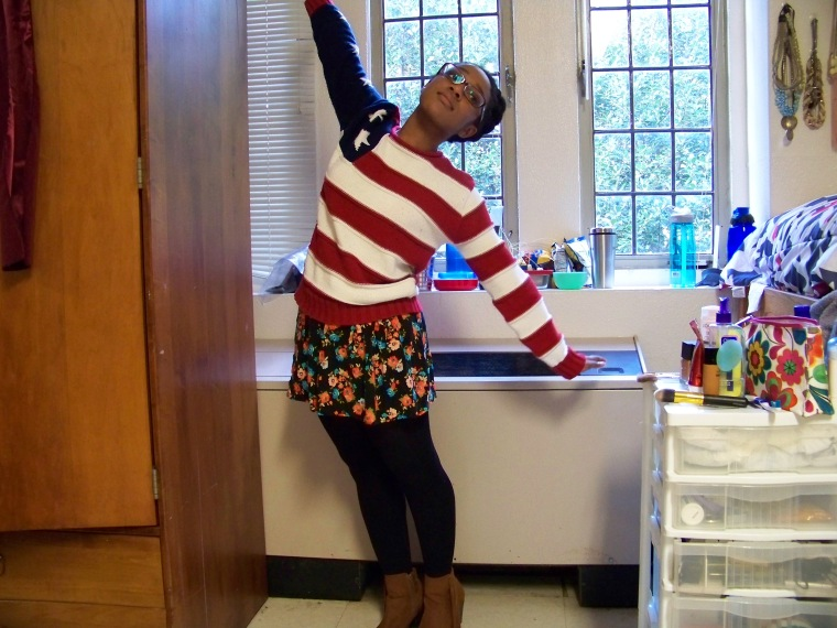 Sweater: Newport News (Goodwill); Skirt: Wetseal; Tights: Forever 21; Boots: Mossimo (Target)