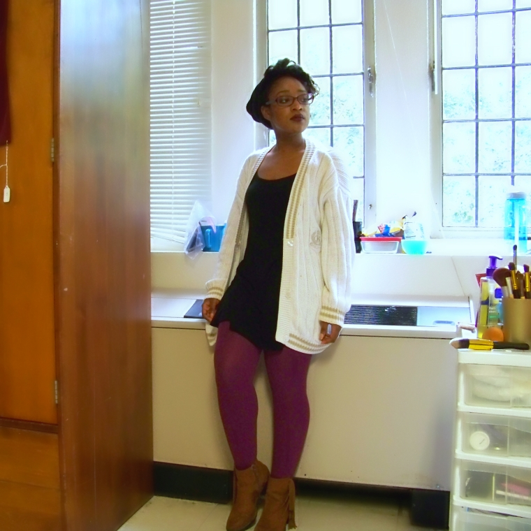 Cardigan: Outback Red; Dress: Forever 21; Tights: Forever 21; Booties: Mossimo (Target); Hat: ?