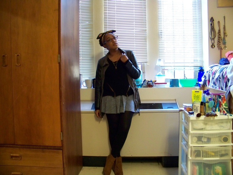 Sweater: Charlotte Russe; Skirt: Mossimo (Target); Tights: F21; Boots: Mossimo (Target); Jacket: Rainbow